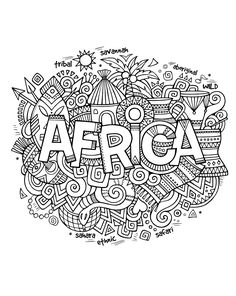 Free coloring page coloring-adult-africa-abstract-symbols. Drawing with the word 'Africa' and a lot of symbols of this continent around (african masks kids) Animal Coloring Pages, Coloring Pages To Print, Coloring For Kids, Printable Coloring Pages, Coloring Pages For Kids, Coloring Sheets, Coloring Books, Coloring Worksheets, High School Art