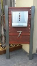 Merbau timber and stainless steel letterbox
