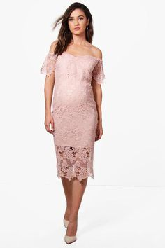 $21 | boohoo Maternity Nia Corded Lace Cold Shoulder Dress | maternity fashion | maternity dress | maternity wardrobe | #ad