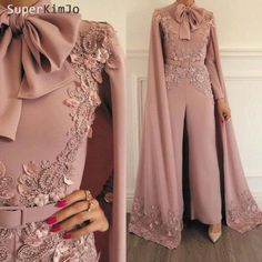 2019 New Arrival Fashion Rompers Dusty Pink Luxury Beaded Lace Evening Dress Panty Formal Dresses 2019 New Arrival Fashion Romper Dusty Pink Luxury Beaded Lace Evening Dress Panty Evening Dresses Jumpsuit Prom Dress, Hijab Dress Party, White Jumpsuit, Party Gowns, Pink Evening Dress, Mermaid Evening Dresses, Mode Abaya, Mode Hijab, Sexy Formal Dresses