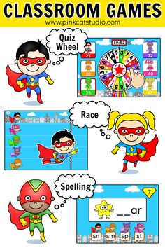 Review any subject in a fun and engaging way with these superhero theme educational games for iPads, interactive whiteboards (SMARTBoard, Promethian, Apple TV) and computers. Make your own questions or choose from hundreds of teacher created quizzes and play them in any of the games. Perfect for math centers and literacy centers as well as whole class activities during back to school. #educationalgames #mathcenters #literacycenters #backtoschool #superheroclassroom #superherotheme Educational Math Games, Educational Websites For Kids, Fun Math Games, School Games, Back To School Activities, Class Activities, Language Activities, Superhero Classroom Theme, Classroom Activities