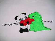 One-of-a-kind hand-painted Dino & Panda t-shirt from my series of 100 T-shirts back in 2012.   Dino & Panda are very different, but something always pulls them together :)   Size: M -Youth