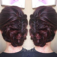 """""""Black Cherry Red braided updo! #unicorntribe"""""""