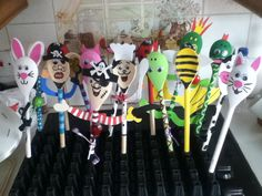 Lots of different wooden spoon characters
