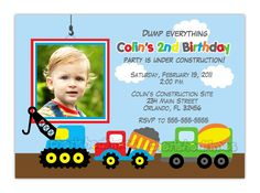 Dump Truck, construction Theme Birthday Party Invitation (You Print)