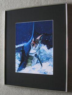 16x20 Manny Marlin Fish framed print by billfishart on Etsy, $99.95