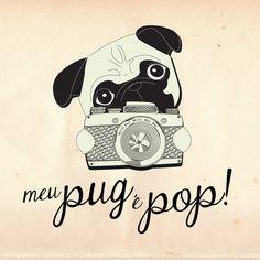 """Projeto e Marca """"Meu Pug é Pop"""" para PopCards by Fernanda Pirani, via Behance"""