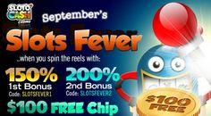 Sloto Cash Online Casino – 200% September Bonus   $100 Free Chip 2016