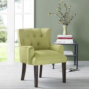 None - Margo Light Green Tufted-Back Accent Chair - A button-tufted back and wrap-around style highlight this transitional accent chair. The Margo chair is more than just appealing; 1.8 Density foam makes for a very comfortable seat.