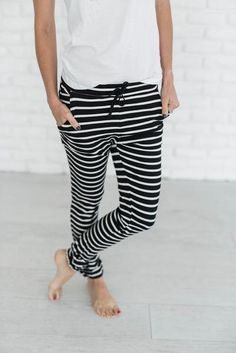 *this item will ship on or before November 9th* Every girl needs the perfect pair of comfs and what's better than stripes & totally comfortable? Nothing. That's what makes these so great! We know they