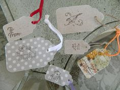 Sizzix Die Cut Tags, Scallop Combo #2; two fabrics bonded with Heat n Bond Ultra Hold