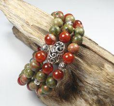 Fire Agate Beaded Bracelet Green & Orange by TreasuredSweets