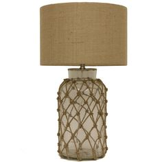 Decor Therapy Seeded Glass Table Lamp with Rope Net ($99) ❤ liked on Polyvore featuring home, lighting, table lamps, clear, rope light, incandescent light, incandescent rope light, rope table lamp and rope lamp