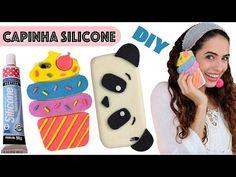 DIY CAPINHA pra CELULAR de SILICONE de PANDA e CUPCAKE | Paula Stephânia - massinha de silicone com amido de milho