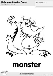 Free Monster Coloring Page From Super Simple Learning Tons Of Halloween Worksheets Flashcards
