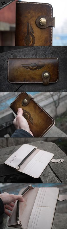 Handmade biker wallet leather vintage tan motorcycle leather long wall | EverHandmade