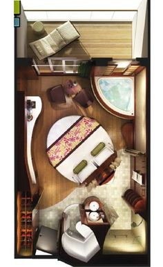Nifty floorplan renderings of all the rooms available on Norwegian Cruise Lines