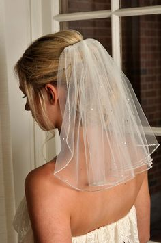Veil with Beaded Edge and Scattered Swarovski by SimplyBlueBridal, $76.00