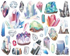 Crystals, Diamonds, and Minerals Clipart - 29 300 DPI Vector & PNG Files - Gems, Stones, Rocks, Crystal Clusters, Nature Clip Art Set by KennaSatoDesigns on Etsy https://www.etsy.com/listing/271271216/crystals-diamonds-and-minerals-clipart