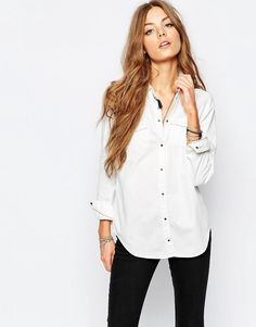 Image 1 of Maison Scotch Western Shirt With Tassel Detail in White