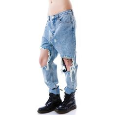 UNIF Twerk Jeans ($94) ❤ liked on Polyvore featuring jeans, bottoms, pants, destroyed jeans, high waisted jeans, distressed jeans, torn jeans and blue jeans