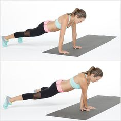 Reps: 10 reps, alternating sides  Begin at the end of your mat in plank position with your hands underneath your shoulders, body in one straight line.  Simultaneously cross your right hand over your left, as you step your left foot to the left. Then simultaneously step your left hand and right foot to the left, returning to plank position. Your hands move together as your feet step apart