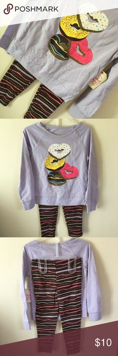 "NEW donut doughnut sweatshirt leggings 2 pc outfit Available in sweetheart sister matching sizes 4 and 6. Brown leggings with elastic waist in everything sweet icing stripes and heart shaped sprinkles in lavender, pink, yellow and chocolate brown. Matching lightweight long sleeve knit top has matching donuts with ""sugar"" sparkling glaze. Super cute, and can span sleepwear or street wear purposes. Perfect for your two little sweeties! New with tags. Faded Glory Matching Sets"