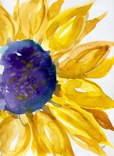 Original Sunny Sunflower Watercolor PRINT, Sunflower Painting, Watercolor Sunflower Sunny Sunflower Original Watercolor PRINT This print measures x Sunflower Art, Watercolor Sunflower, Easy Watercolor, Watercolor Print, Watercolor Flowers, Watercolor Paintings, Watercolors, Sunflower Paintings, Watercolor Pictures