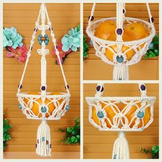 This 8 macrame hanging basket is a retro way to store fruits and vegetables in your kitchen! Can accommodate fruits such as apples, oranges, and bananas or even potatoes and onions. The open knotting pattern allows air to easily move through the basket. The sides of the basket are