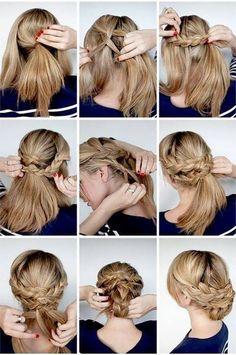 Triple layer braids updo