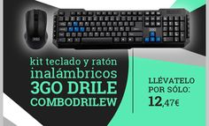 Kit #Teclado+Raton Inalámbrico 3GO Drile COMBODRILEW.  http://www.opirata.com/es/teclado-raton-inalambrico-drile-combodrilew-p-34357.html