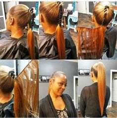 Begin wrapping extensions around middle of natural ponytail Weave Ponytail Hairstyles, Ponytail Styles, Pretty Hairstyles, Girl Hairstyles, Long Ponytails, Coiffure Hair, Natural Hair Styles, Short Hair Styles, Sleek Ponytail