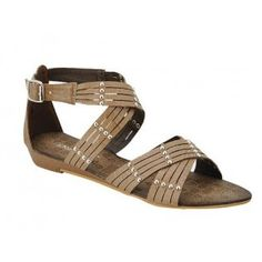 AMPLY-1 Women Ankle Strap Sandals - Brown