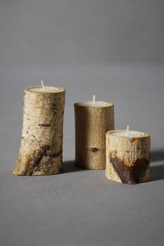 BIRCH & SPADE, TEALIGHT HOLDERS: set of 3 for $22.