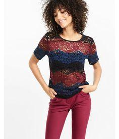 Floral Lace  Stripe Tee Multi Women's Medium