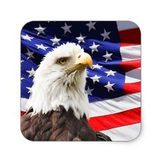 Eagle and Flag Square Sticker - 4th july usa patriot holiday independence day july fourth diy