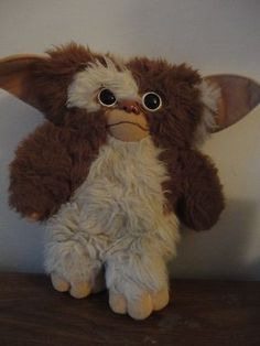 "1984 Gremlins Gizmo Toy by Applause Brown White Stuffed Plush 11"" 1980s Mogwai 