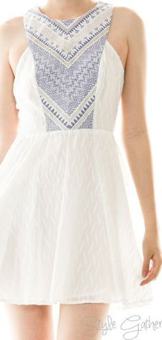 Embroidered Detail Dress in White