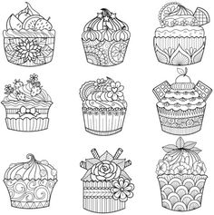 Happy Valentine's Day Coloring Book Doodle Book -- cupcakes coloring page!! How cute!