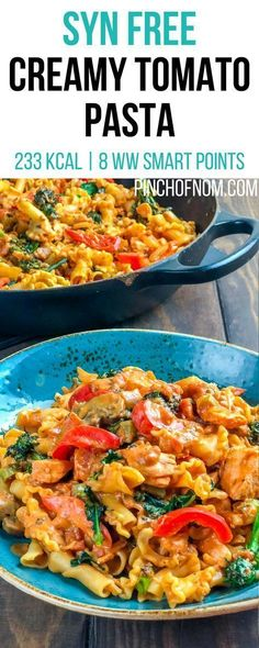 Syn Free Creamy Tomato Pasta Pinch Of Nom Slimming World Recipes 233 kcal Syn Free 8 Weight Watchers Smart Points Slimming World Pasta Bake, Slimming World Vegetarian Recipes, Slimming World Dinners, Slimming World Diet, Healthy Dinner Recipes, Cooking Recipes, Slimming Workd Recipes, Slimming Eats, Easy Pasta Dishes