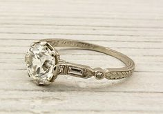 Engraved 20s engagement ring