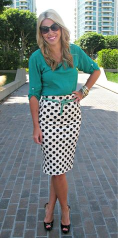 15 Of The Best Summer Outfits For Work - teal 3/4 sleeve blouse, white with black polka dots pencil skirt, teal thin waist belt, black heels, large gold chain necklace