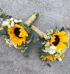 Flower girl bouquet Ramitos para niñas con #girasoles, #matricaria #craspedia…