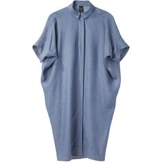 Zero + Maria Cornejo Aissa Shirt Dress ($313) ❤ liked on Polyvore featuring dresses, tops, платья, short dresses, oversized shirt dress, button front dress, short blue dresses and blue dress