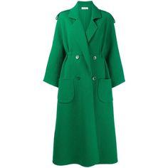 Vika Gazinskaya Vika Gazinskaya Long Double Breasted Coat ($2,733) ❤ liked on Polyvore featuring outerwear, coats, green, vika gazinskaya, woolen coat, double-breasted wool coat, wool coat and long green coat