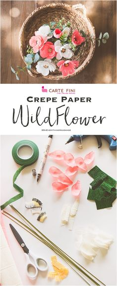 I am so stoked to finally show you some Crepe paper flower tutorials. If you are subscribed to my newsletter, then you may have read in my monthly June newsletter that I have partnered with http://cartefini.com, which is very exciting for me.