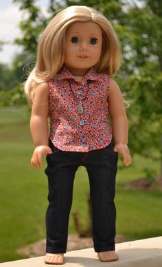 Skinny, Blouse & necklace, by Simply18Inches via Etsy $53.00