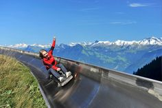 Switzerland's longest summer toboggan on Mount Pilatus above Lucerne