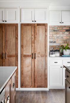 Amazing wood cabinet doors - love that brick backsplash too! #Cabinetdoors