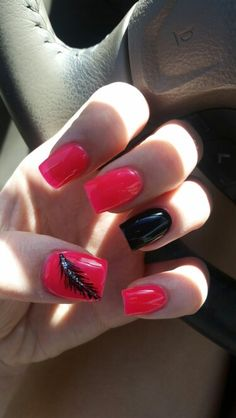 Nails for teens, pink, black, feather